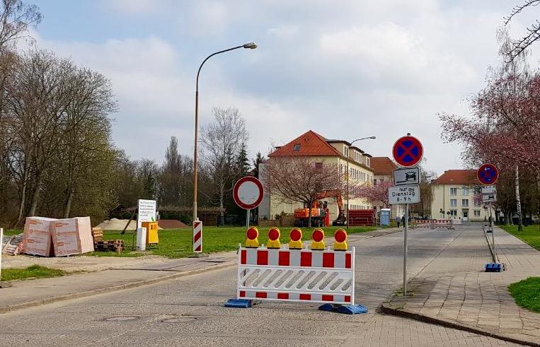 Sperrung der Karl-Marx-Straße in Calbe
