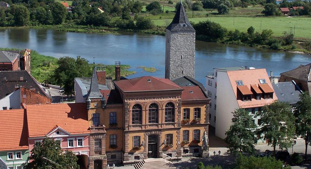 Rathausansicht von der Kirchturmspitze