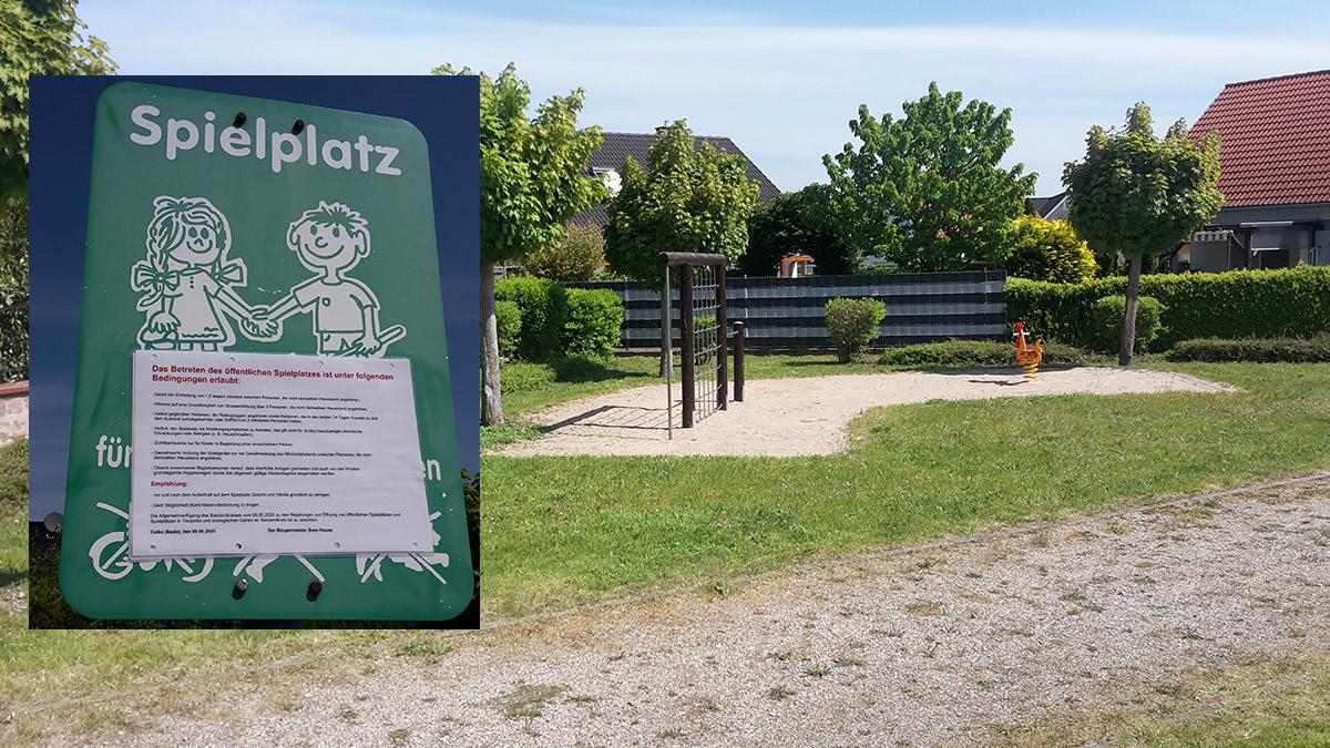 Alle Spielplätze der Stadt Calbe (Saale) wurden, wie der hier abgebildete Spielplatz am Weinberg, wieder für die Nutzung freigegeben. Es wird ausdrücklich auf die Einschränkungen zur Nutzung hingewiesen.
